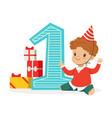 happy baby boy celebrating his first birthday vector image