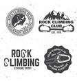 vintage typography design with climber carabiner vector image