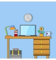 workplace in office business thin flat vector image