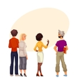 People stand with his back and are looking forward vector image