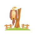 Bald American Eagle Sitting On Tree Branch In Open vector image