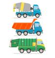 cartoon transport set mixer truck dump truck vector image