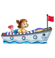 A girl lying above the ship with a red flag vector image vector image