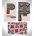 Ancient Business card design LETTER P vector image