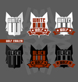 Black wolf and white wolf emblems vector image