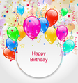 Birthday Celebration Card with Colorful Balloons vector image vector image