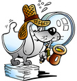 a Paper Dog Detective Mascot vector image
