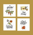 autumn cards with brush lettering typography vector image