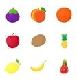 Farm fruit icons set cartoon style vector image
