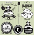 set badges with the farmer and vegetables for the vector image