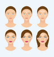 stages of the makeup on the womans face vector image