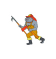 Bulldog Firefighter Pike Pole Fire Axe Drawing vector image vector image