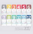 calendar 2017 print template design paper folding vector image vector image