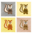 assembly flat shading style icons cartoon squirrel vector image