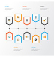 audio flat icons set collection of rhythm band vector image