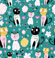 pattern of funny cats vector image