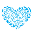 heart with marine life vector image vector image