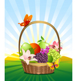 fruit basket on the lawn vector image vector image