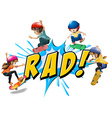 Rad kids vector image
