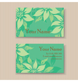 business card with green flovers vector image vector image