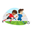 Two funny men soccer player playing football vector image