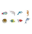 a variety of marine animals icons in set vector image