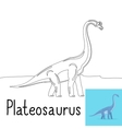 Coloring page for kids with Plateosaurus vector image