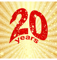 Greeting card with the 20th anniversary vector image