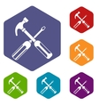 Hammer and screwdriver icons set vector image