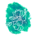 Hand drawn flower on watercolor background vector image