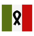 italy flag with mourning ribbon vector image