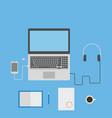 laptop smartphone headphones notebook and vector image