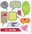 Speech bubbles retro design I love you vector image