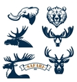Hunting club icons set of animals vector image