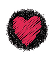 red heart and black circle vector image