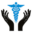 Hands with caduceus symbol vector image