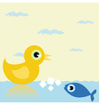 duck and fish vector image vector image