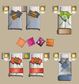 Twin bed top view set 2 vector image