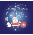 Christmas background with Santa Claus and snowman vector image