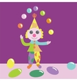 Clown juggling with balls vector image