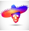 Colorful geometric skull in sombrero vector image