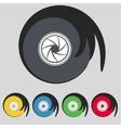 diaphragm icon Aperture sign Set colourful buttons vector image