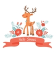 Hello spring concept card with deer vector image