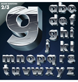 Silver chrome or aluminum 3D alphabet vector image