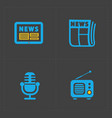 media icons set on dark background vector image