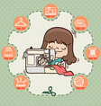 Young girl sewing new dress with sewing machine vector image vector image