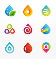 Water drop symbol logo icon set vector image