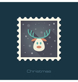Christmas reindeer flat stamp vector image