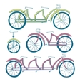 Set of four bicycles Unicycle tricycle tandem vector image