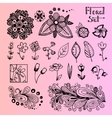 Set of black doodle flowers vector image